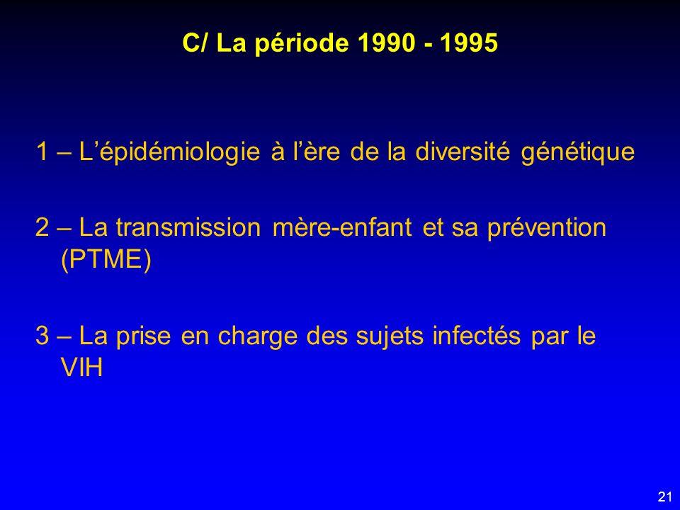 C/ La période 1990 - 1995 1 – L'épidémiologie à l'ère de la diversité génétique. 2 – La transmission mère-enfant et sa prévention (PTME)