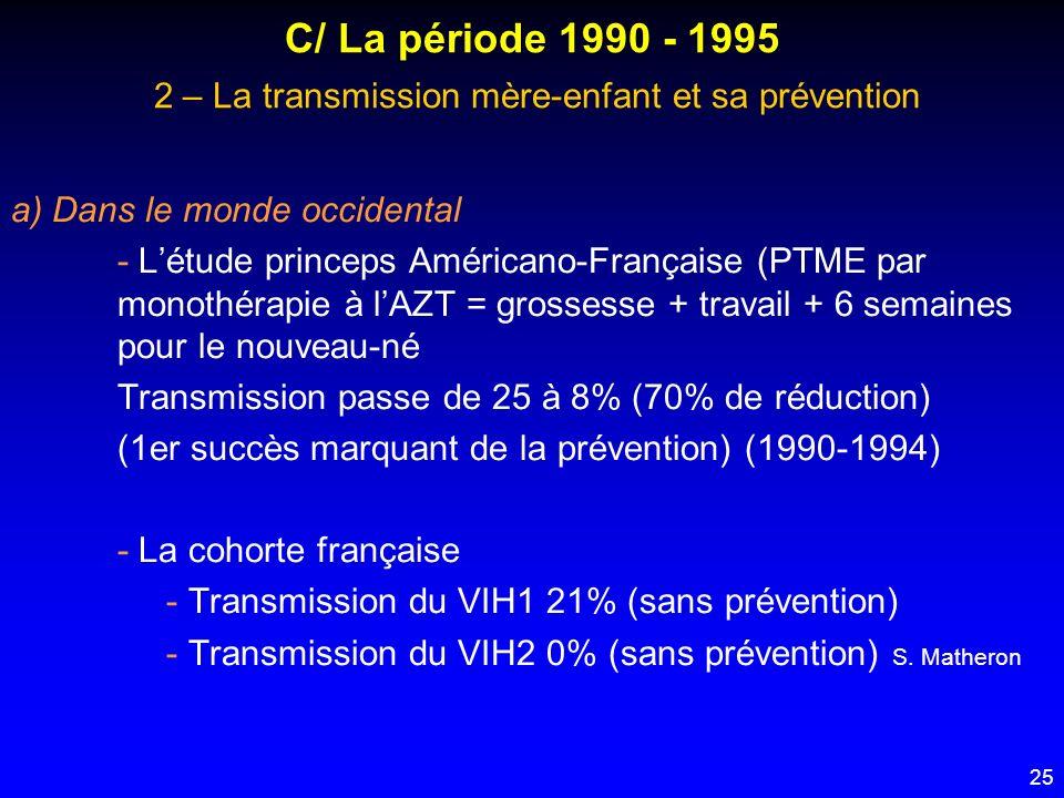 C/ La période 1990 - 1995 2 – La transmission mère-enfant et sa prévention