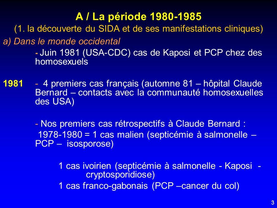 A / La période 1980-1985 (1. la découverte du SIDA et de ses manifestations cliniques)