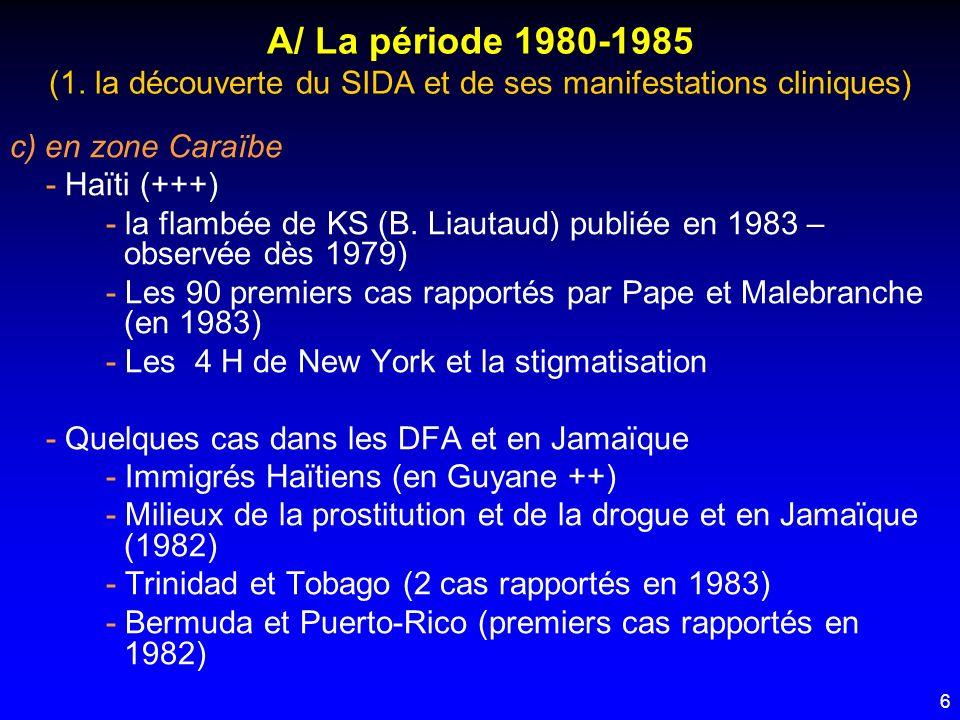 A/ La période 1980-1985 (1. la découverte du SIDA et de ses manifestations cliniques)