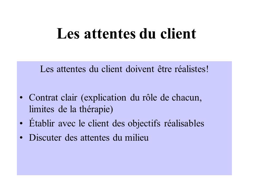 Les attentes du client doivent être réalistes!