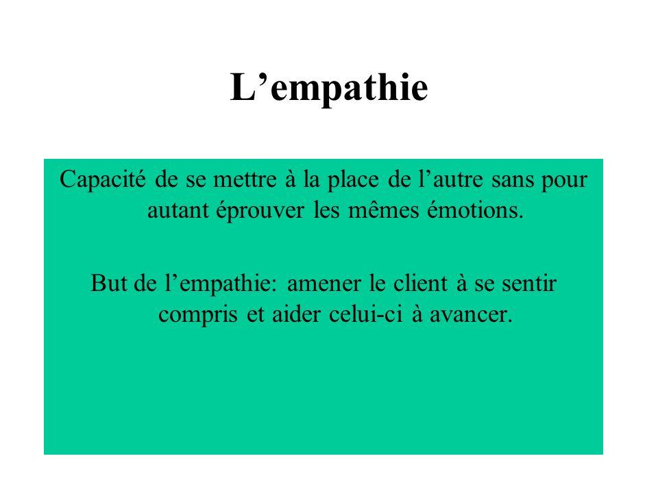 L'empathie Capacité de se mettre à la place de l'autre sans pour autant éprouver les mêmes émotions.