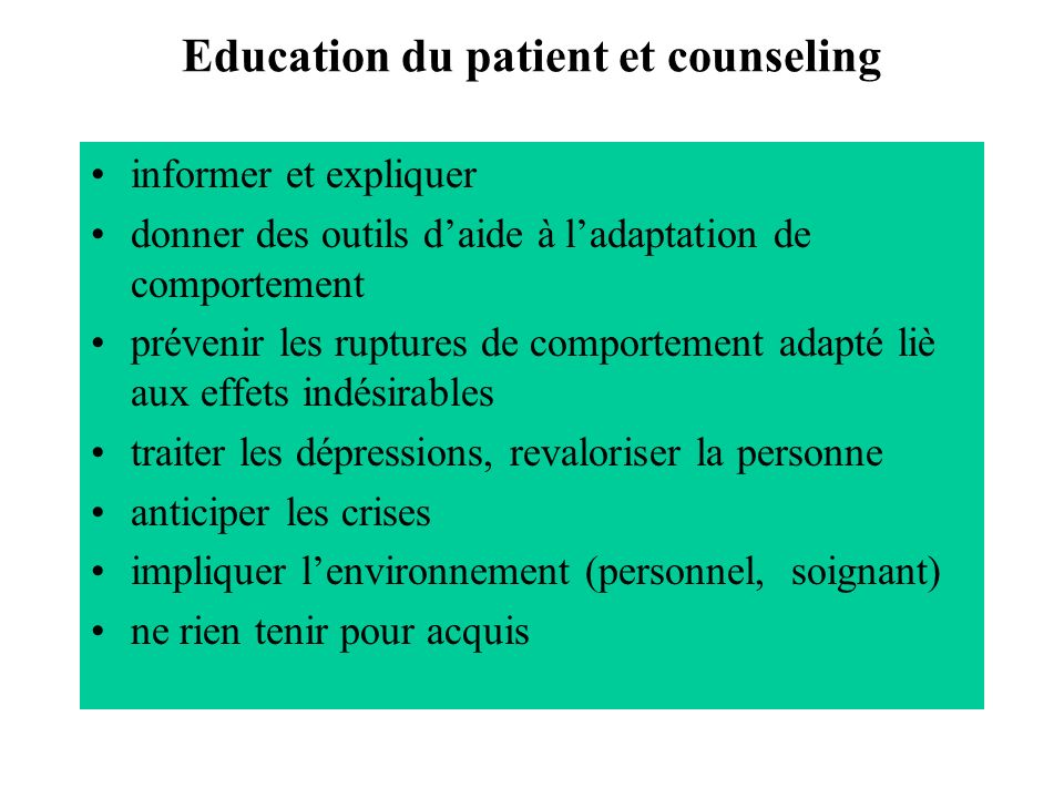 Education du patient et counseling