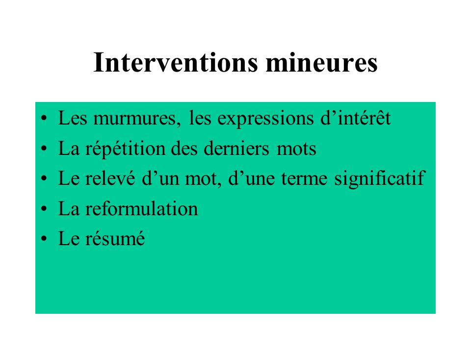 Interventions mineures