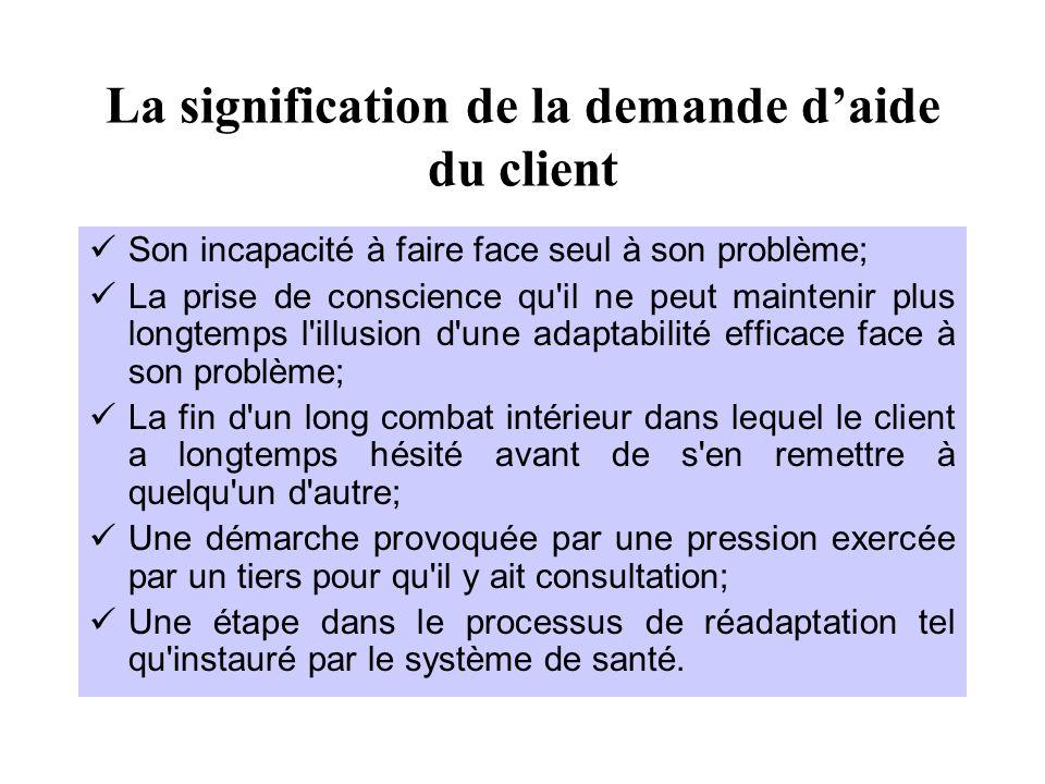 La signification de la demande d'aide du client