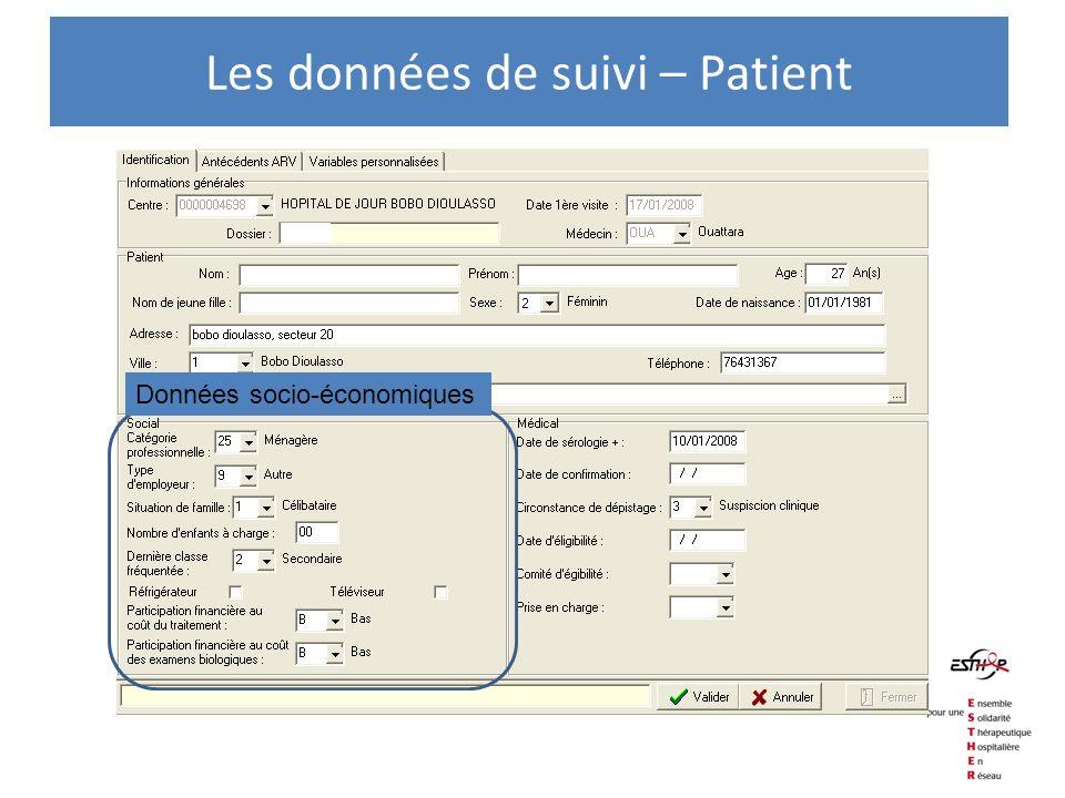Les données de suivi – Patient