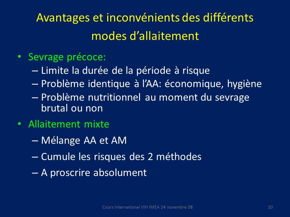 Avantages et inconvénients des différents modes d'allaitement