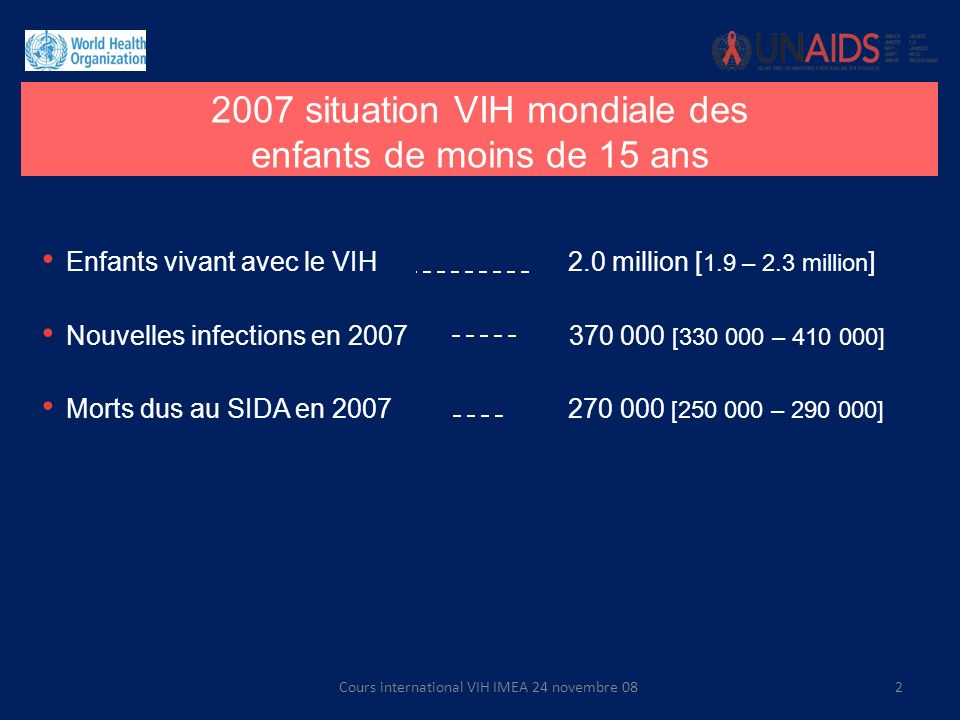 2007 situation VIH mondiale des enfants de moins de 15 ans
