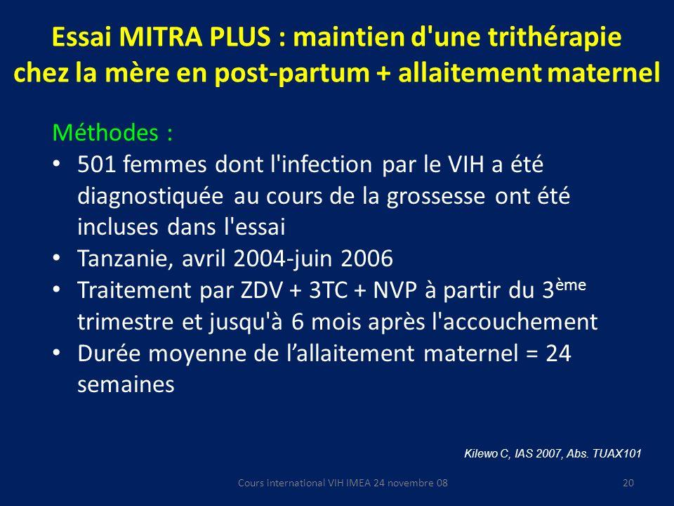 Cours international VIH IMEA 24 novembre 08