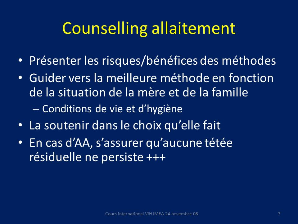 Counselling allaitement