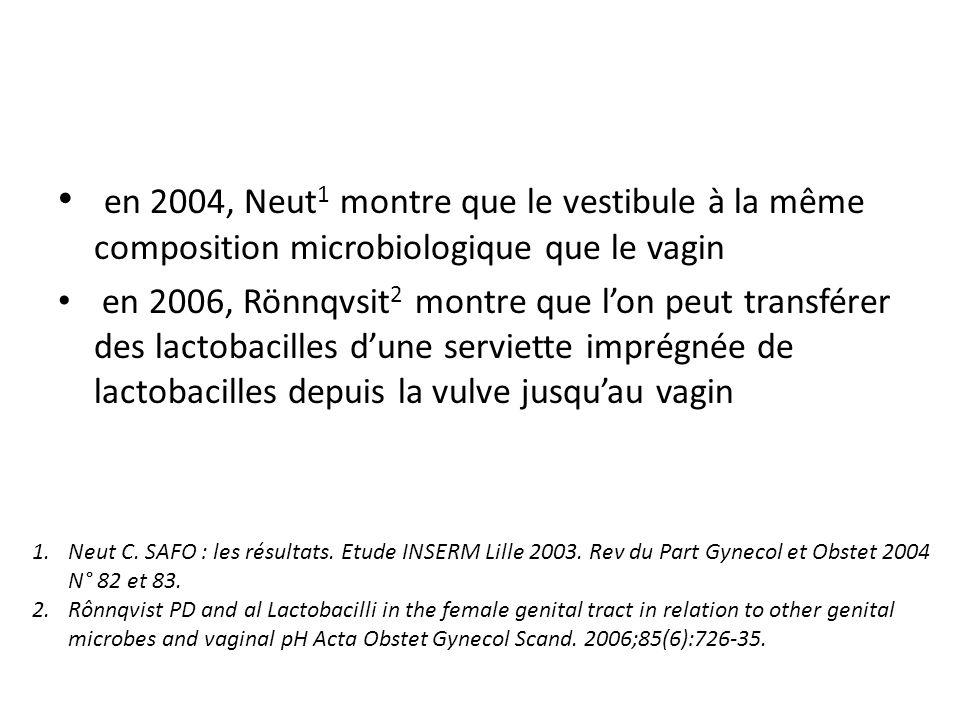 en 2004, Neut1 montre que le vestibule à la même composition microbiologique que le vagin
