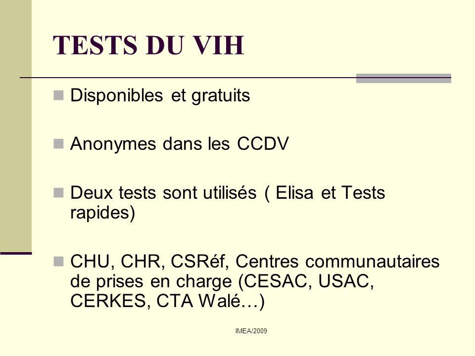 TESTS DU VIH Disponibles et gratuits Anonymes dans les CCDV