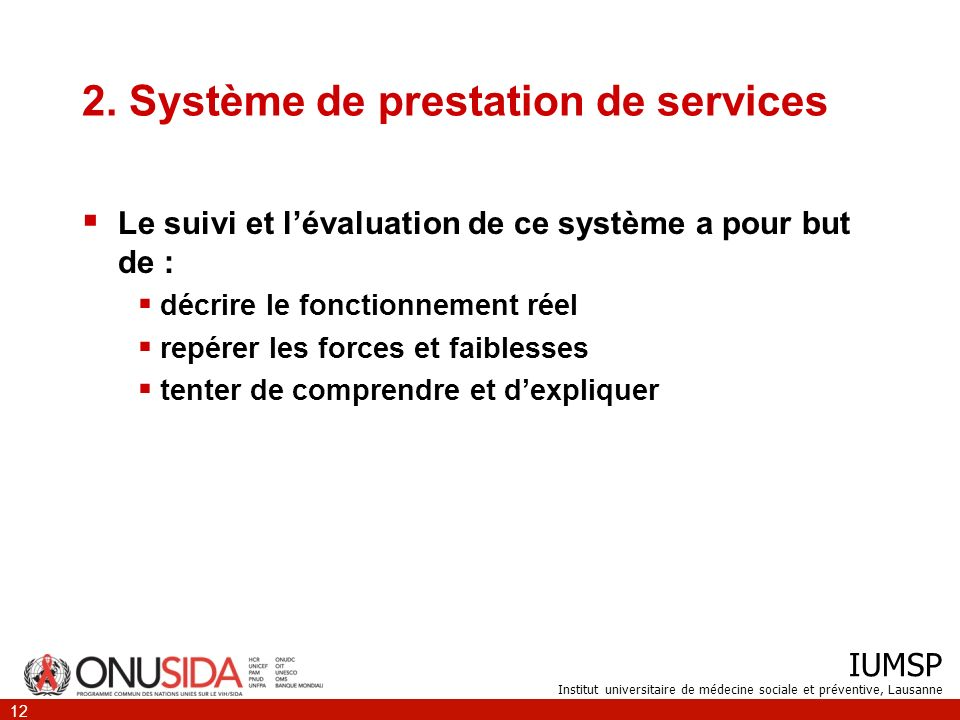 2. Système de prestation de services