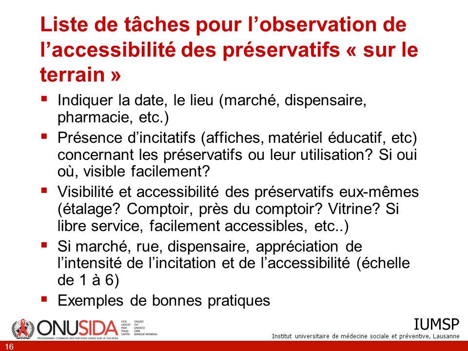 Liste de tâches pour l'observation de l'accessibilité des préservatifs « sur le terrain »