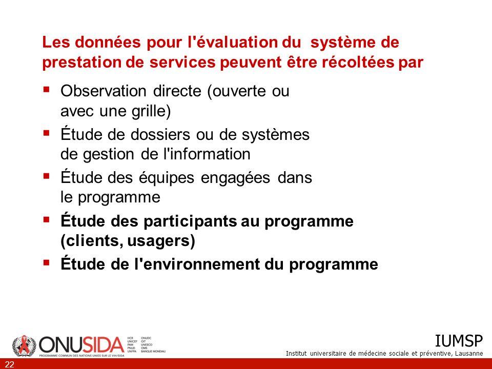 Les données pour l évaluation du système de prestation de services peuvent être récoltées par