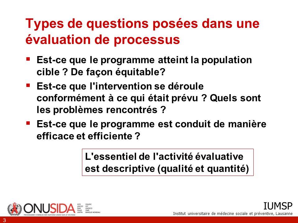 Types de questions posées dans une évaluation de processus