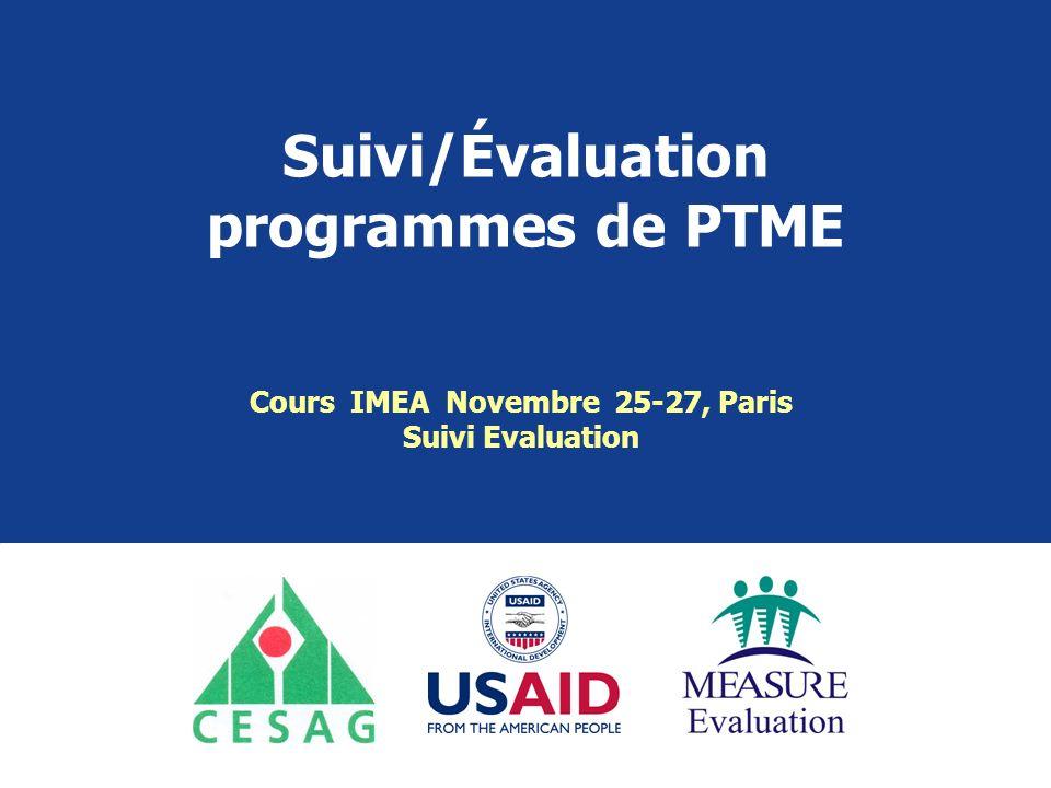 Suivi/Évaluation programmes de PTME