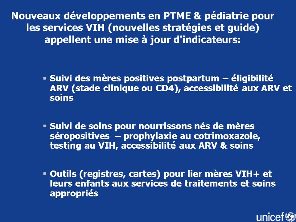 Nouveaux développements en PTME & pédiatrie pour les services VIH (nouvelles stratégies et guide) appellent une mise à jour d indicateurs:
