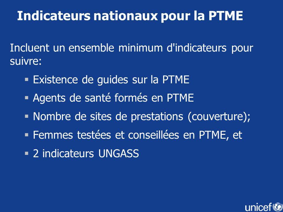 Indicateurs nationaux pour la PTME
