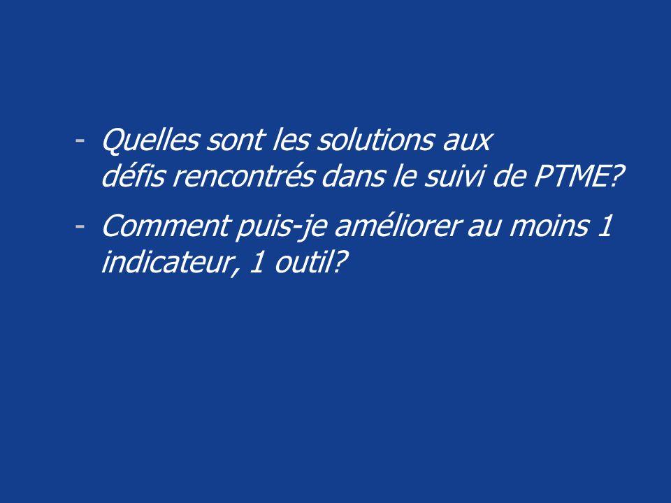 Quelles sont les solutions aux défis rencontrés dans le suivi de PTME