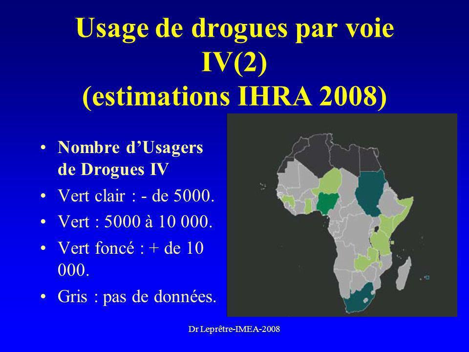 Usage de drogues par voie IV(2) (estimations IHRA 2008)