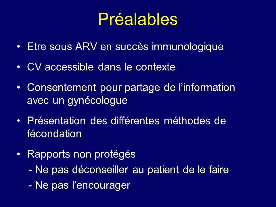 Préalables Etre sous ARV en succès immunologique