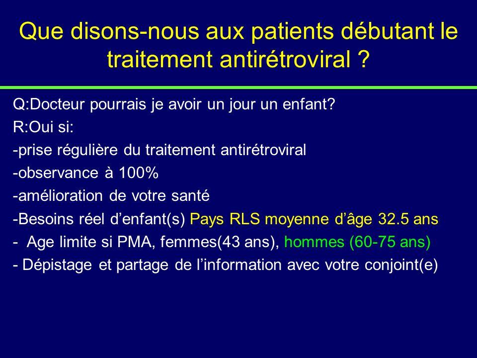 Que disons-nous aux patients débutant le traitement antirétroviral