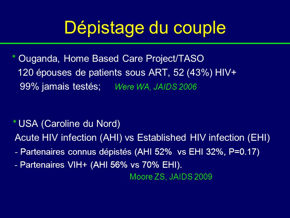 Dépistage du couple * Ouganda, Home Based Care Project/TASO