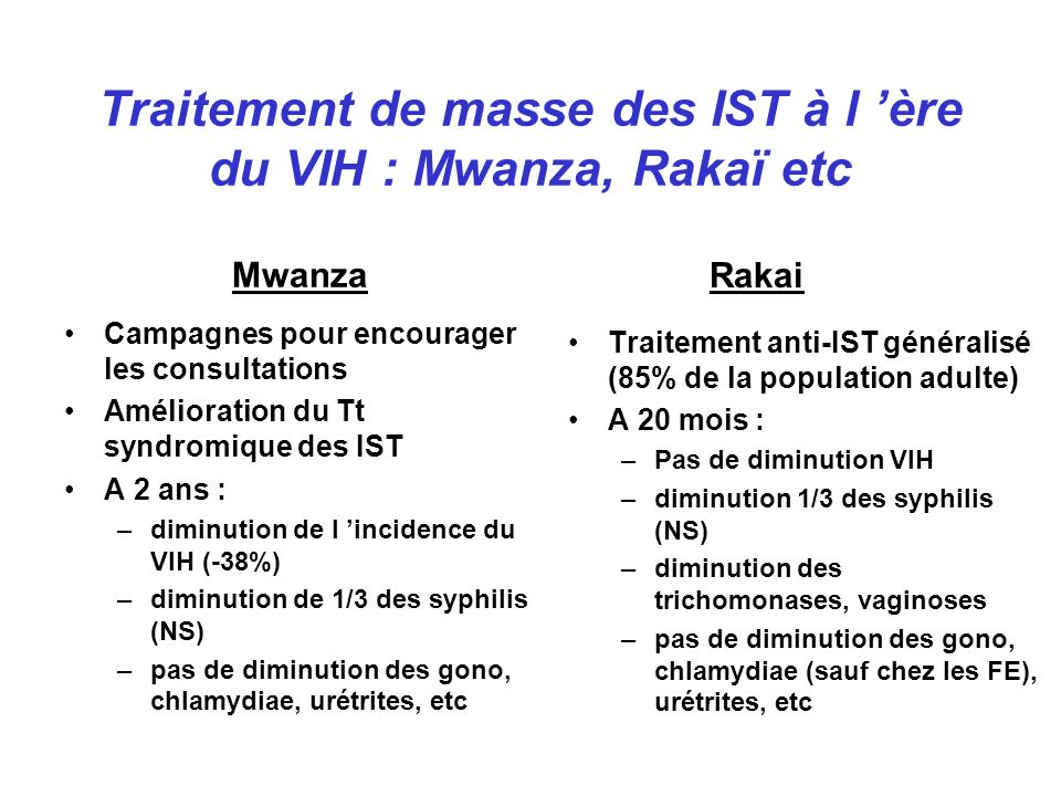 Traitement de masse des IST à l 'ère du VIH : Mwanza, Rakaï etc