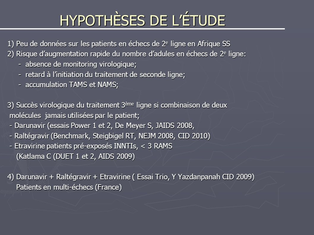 HYPOTHÈSES DE L'ÉTUDE