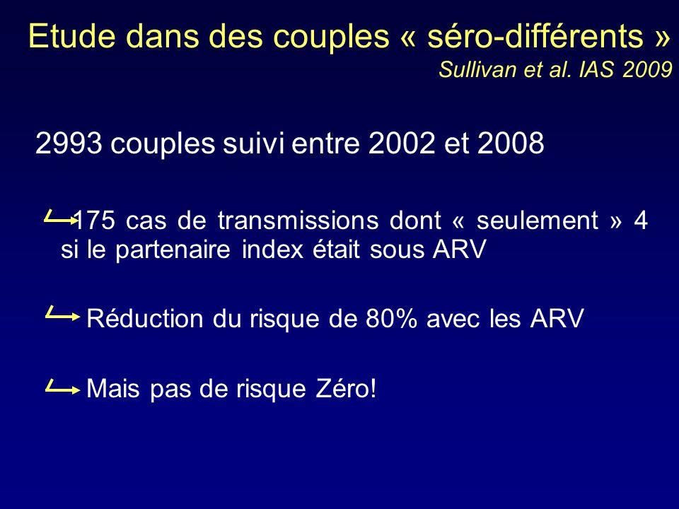 Etude dans des couples « séro-différents » Sullivan et al. IAS 2009