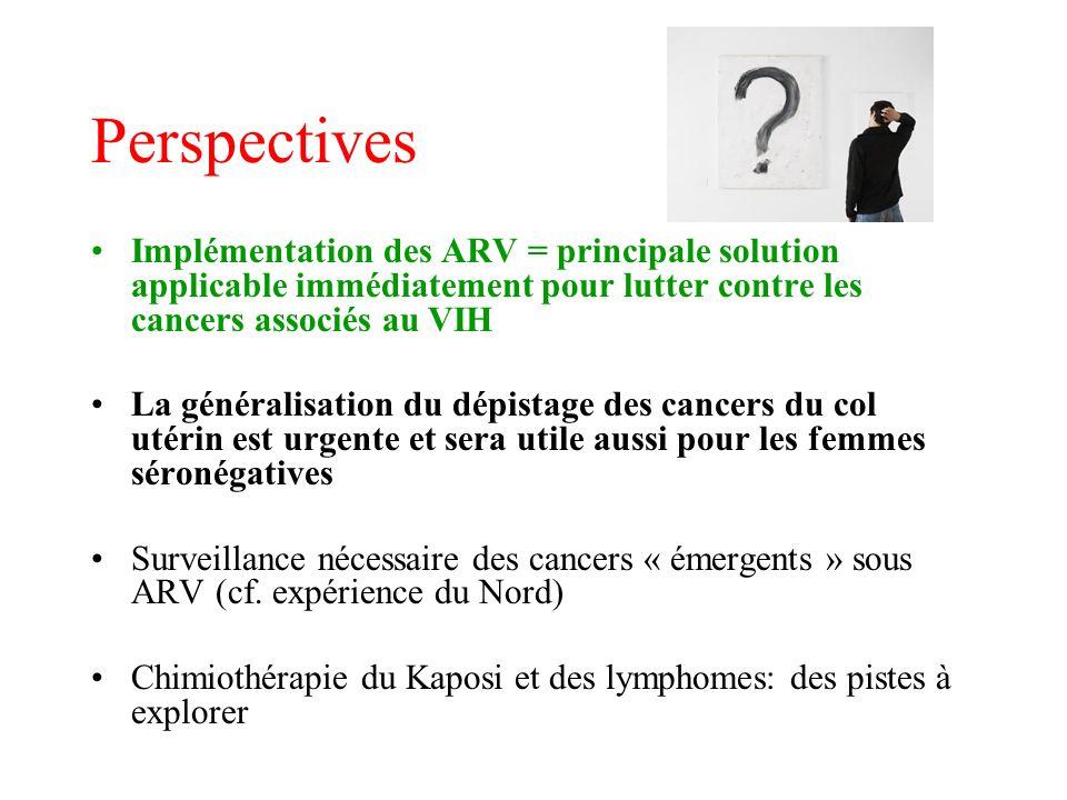 Perspectives Implémentation des ARV = principale solution applicable immédiatement pour lutter contre les cancers associés au VIH.