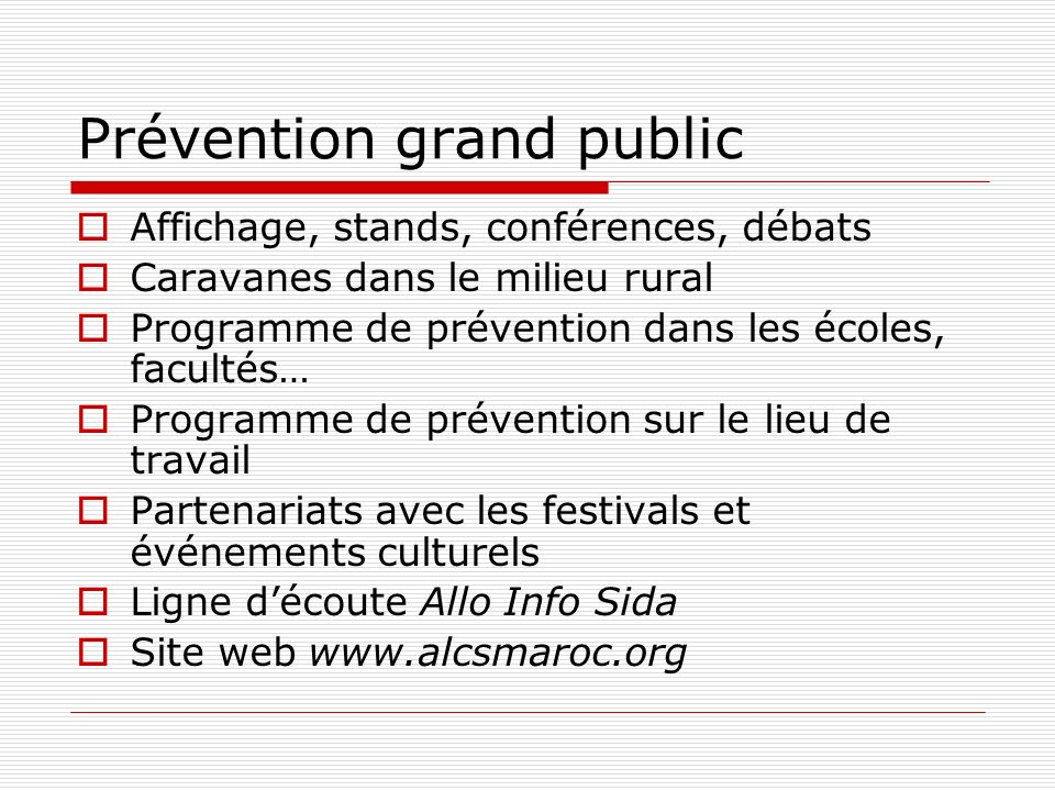 Prévention grand public