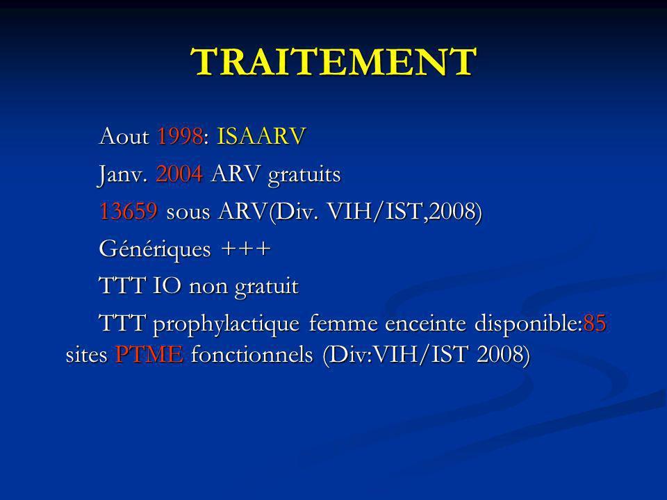 TRAITEMENT Aout 1998: ISAARV Janv. 2004 ARV gratuits