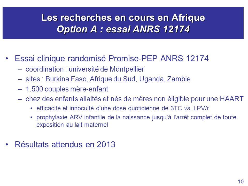 Les recherches en cours en Afrique Option A : essai ANRS 12174