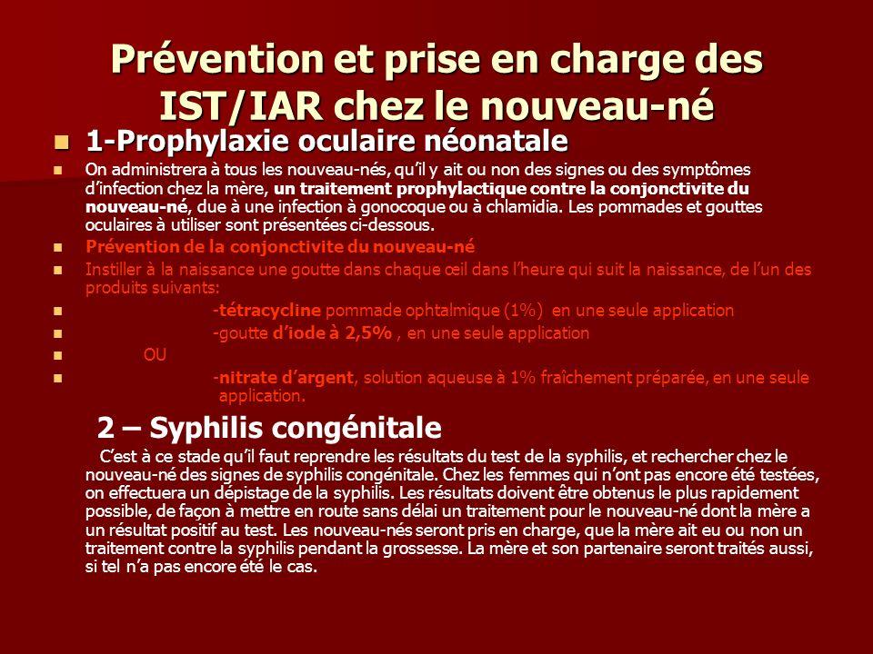 Prévention et prise en charge des IST/IAR chez le nouveau-né