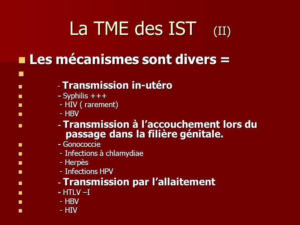 La TME des IST (II) Les mécanismes sont divers =