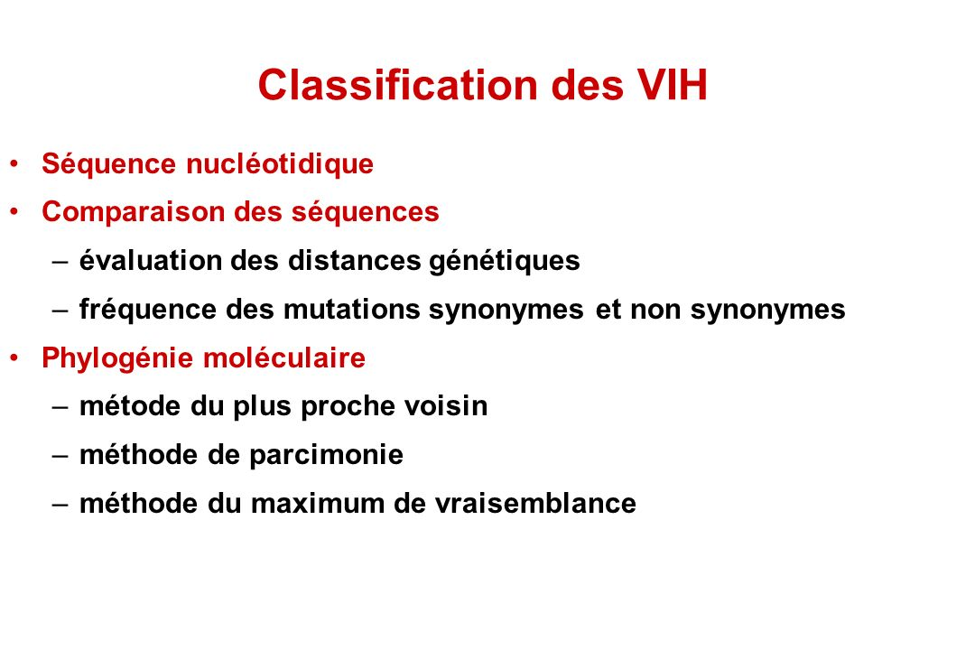 Classification des VIH