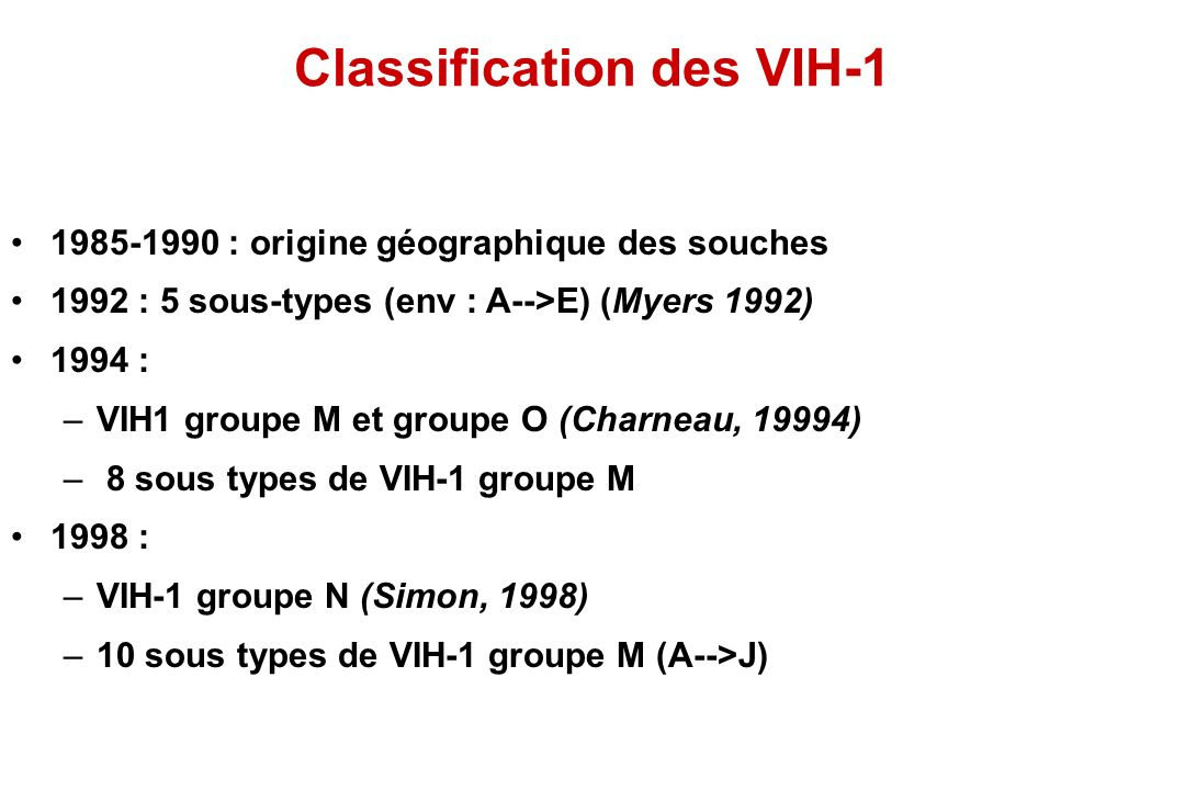 Classification des VIH-1
