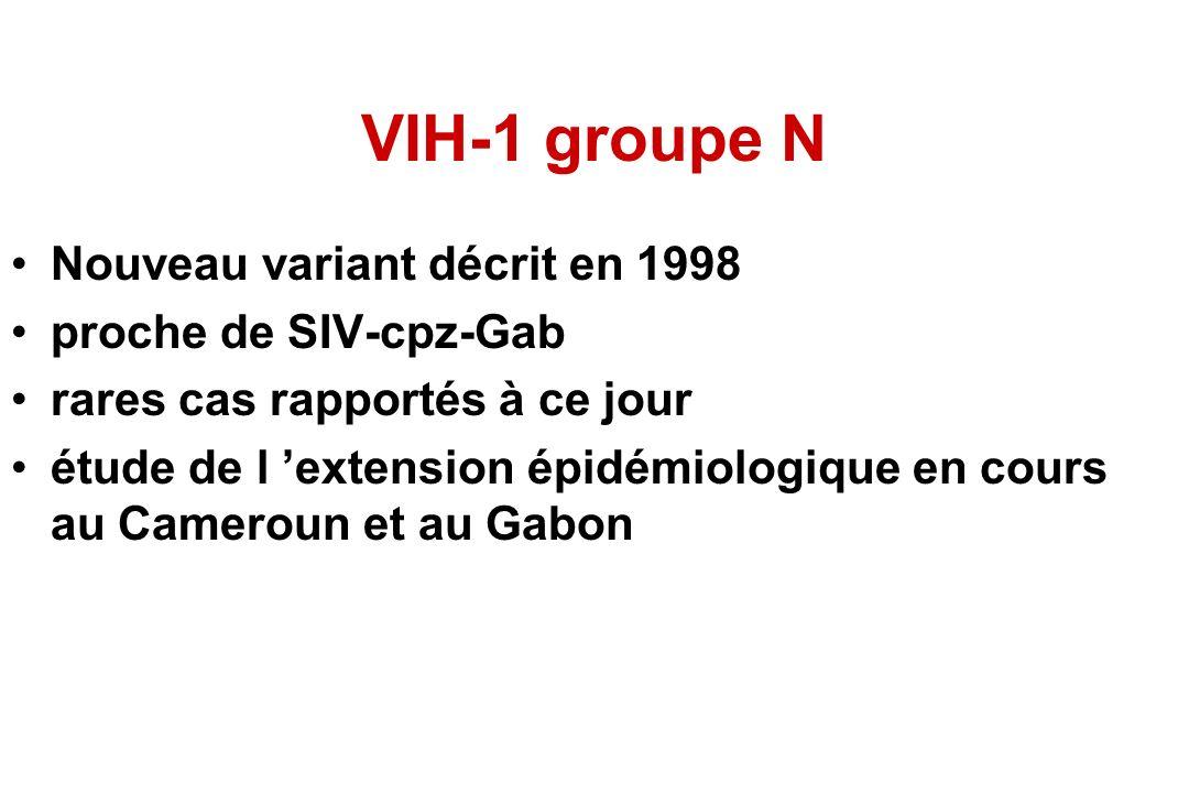 VIH-1 groupe N Nouveau variant décrit en 1998 proche de SIV-cpz-Gab