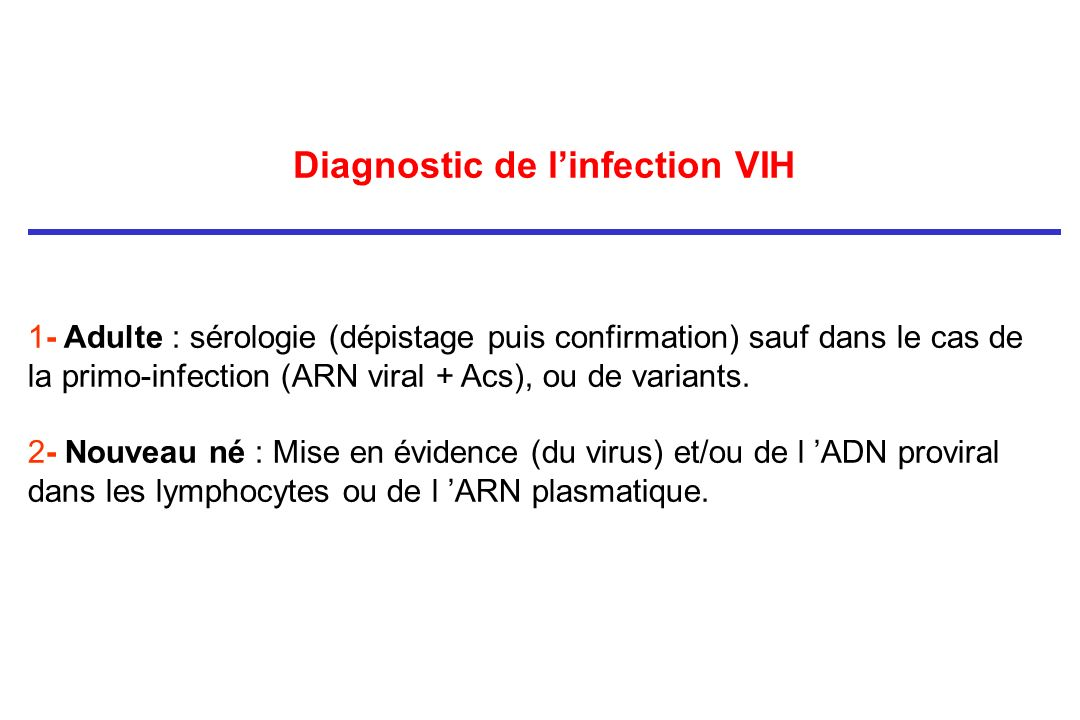 Diagnostic de l'infection VIH