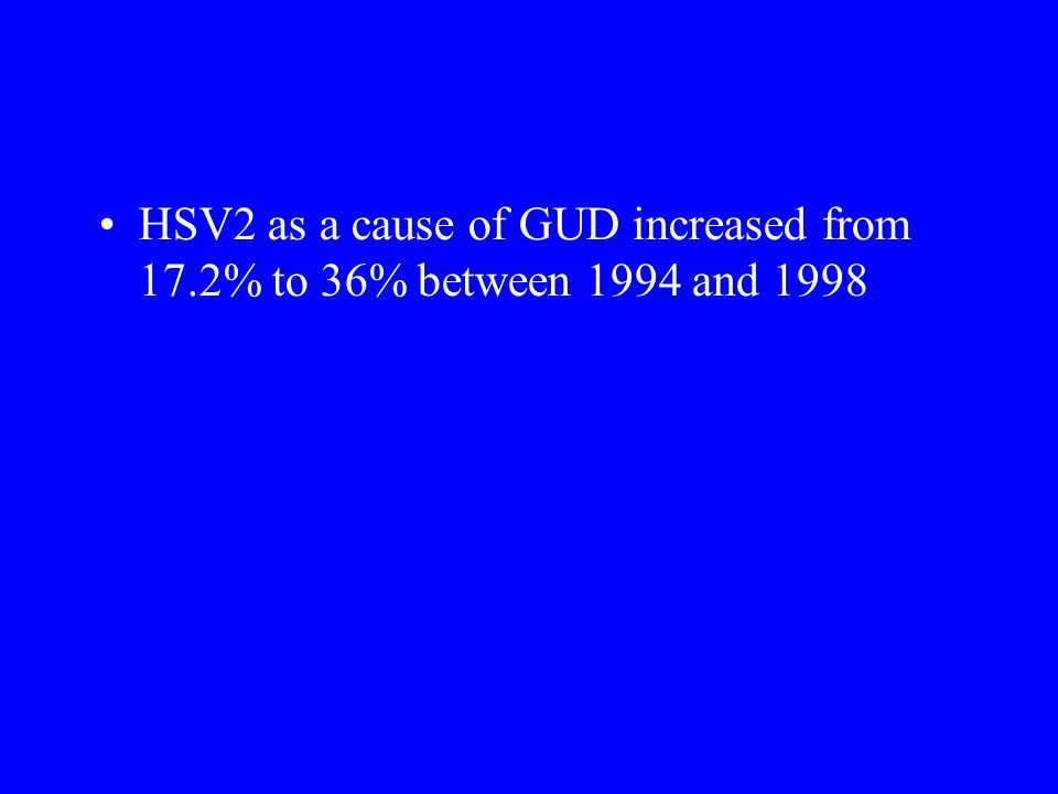 HSV2 as a cause of GUD increased from 17