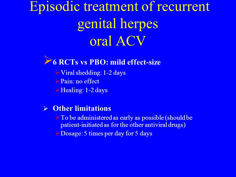 Episodic treatment of recurrent genital herpes oral ACV