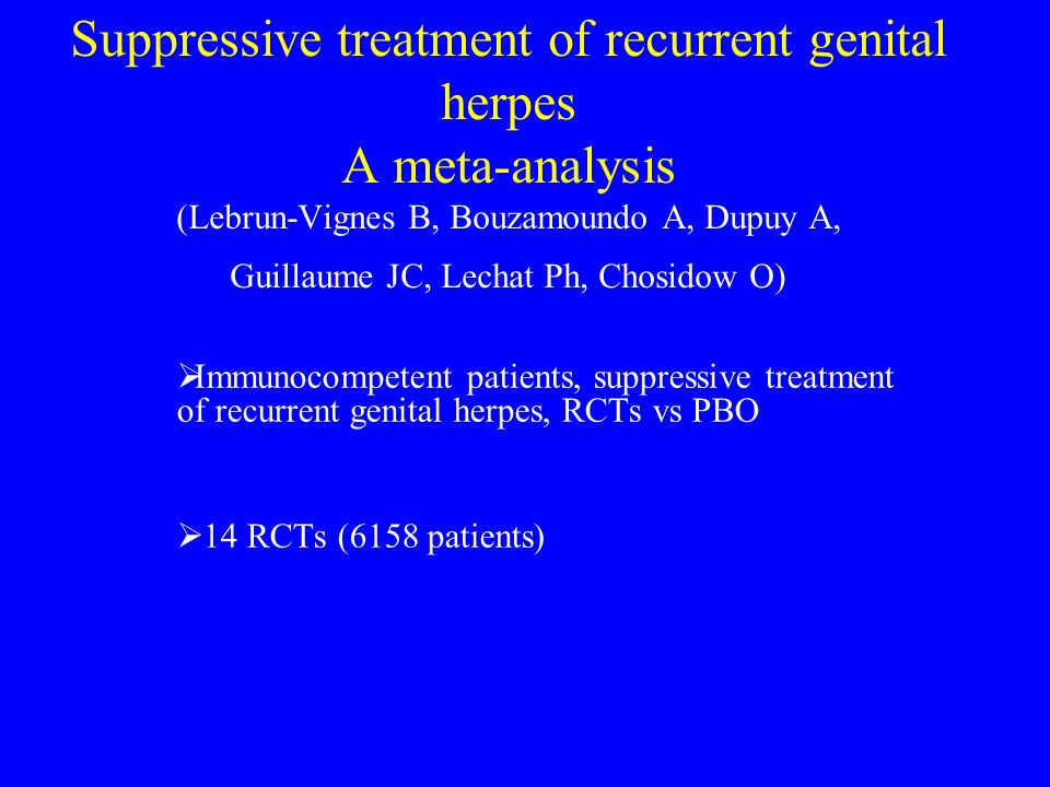 Suppressive treatment of recurrent genital herpes A meta-analysis (Lebrun-Vignes B, Bouzamoundo A, Dupuy A, Guillaume JC, Lechat Ph, Chosidow O)