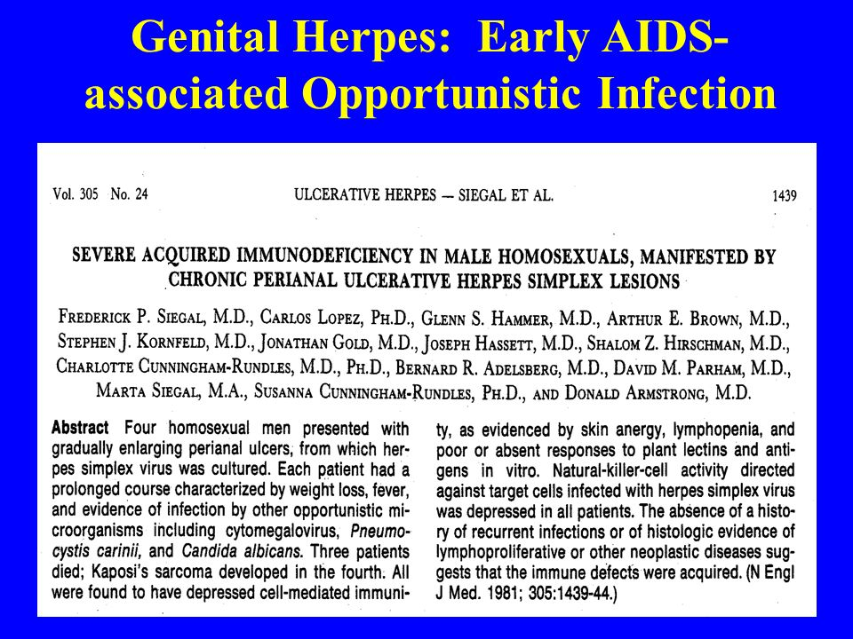 Genital Herpes: Early AIDS-associated Opportunistic Infection