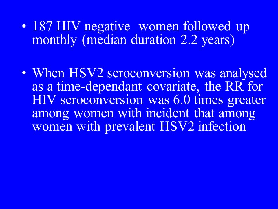 187 HIV negative women followed up monthly (median duration 2.2 years)