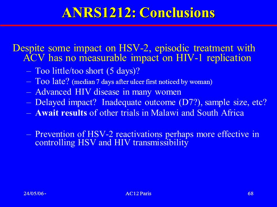 ANRS1212: Conclusions Despite some impact on HSV-2, episodic treatment with ACV has no measurable impact on HIV-1 replication.