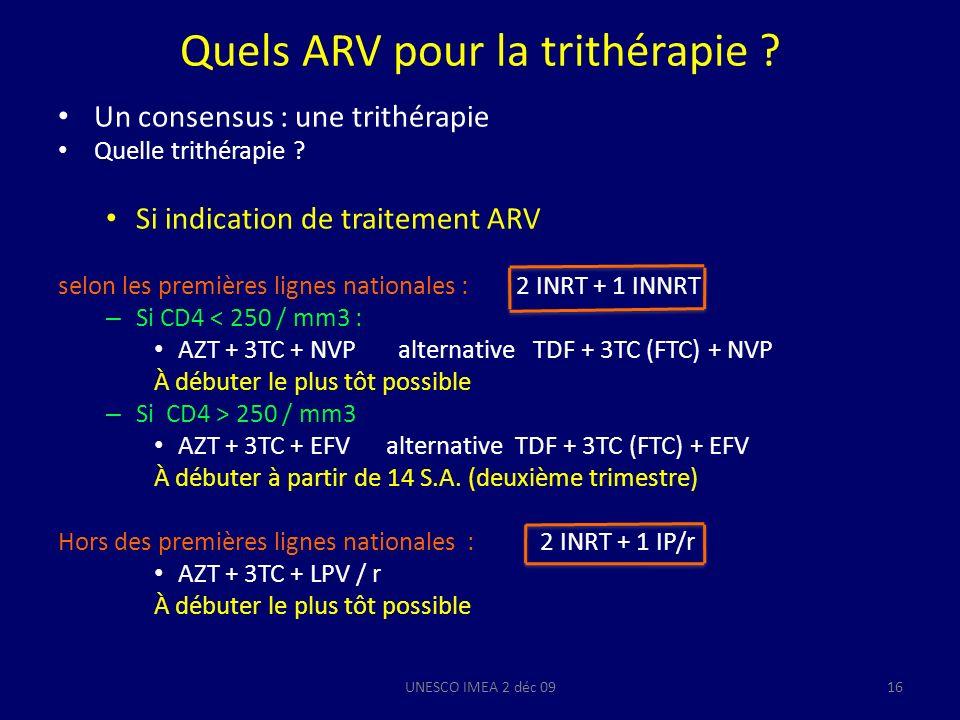 Quels ARV pour la trithérapie
