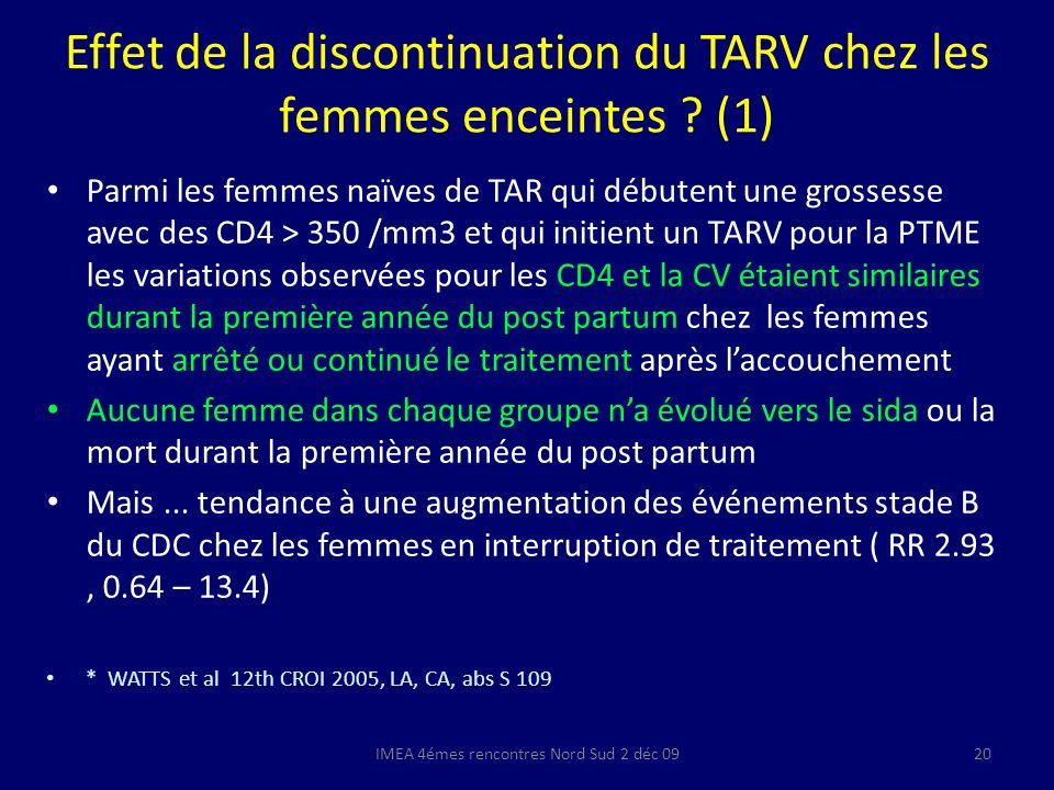 Effet de la discontinuation du TARV chez les femmes enceintes (1)
