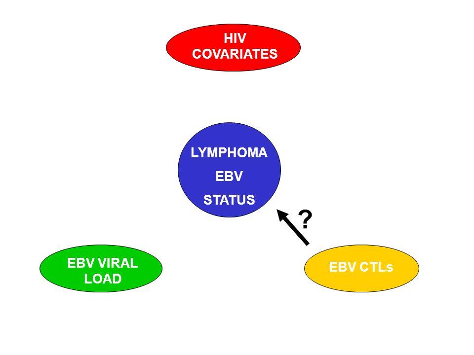 HIV COVARIATES LYMPHOMA EBV STATUS EBV VIRAL LOAD EBV CTLs